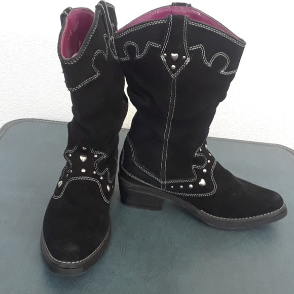 Choose Your Size Nine West Cyndees Girls/' Mid Boots Black NEW!
